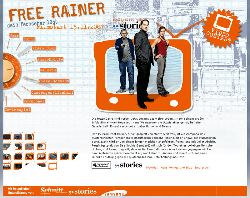 Mircosite Promotion - Film: Free Rainer - mit Moritz Bleibtreu